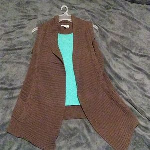 Sonoma Long Brown Sweater Vest